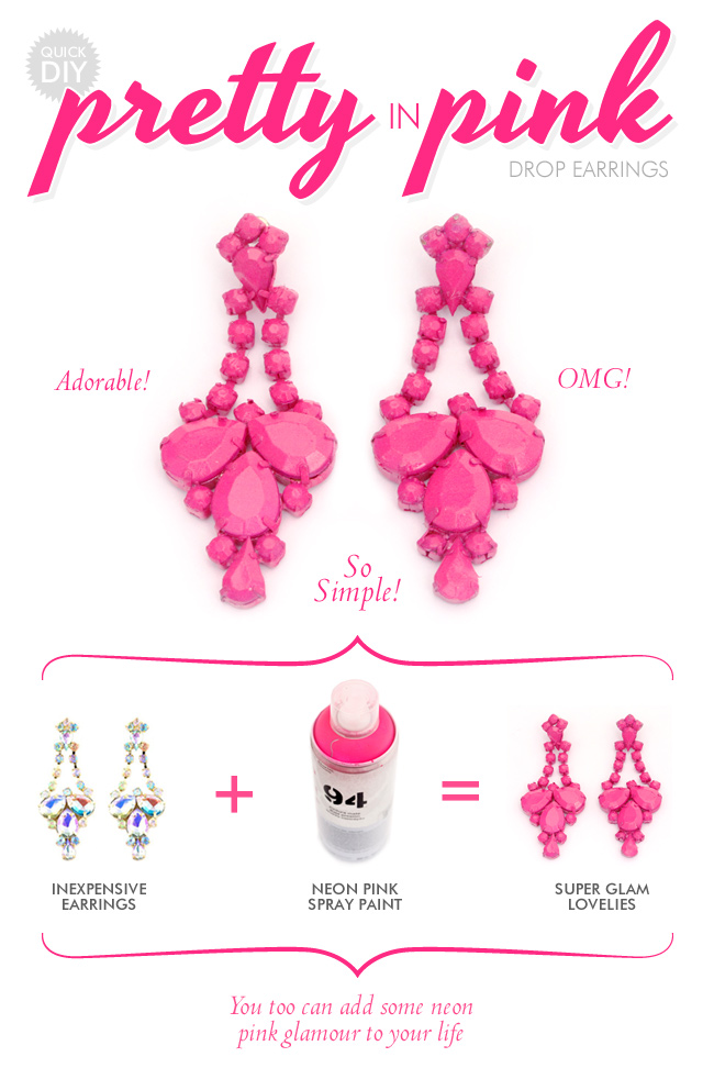 DIY - make your own neon pink earings